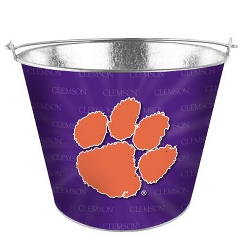 NCAA Clemson - Full Color Metal Beer Bucket | Clemson Tigers 5 Quart Ice Pail (Ncaa Tub)