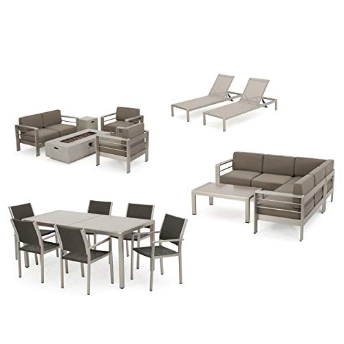 (Coral Bay 17-Piece Grand Patio Sectional, Lounge, Dining Set & Light Grey Fire Table (Glass Top Tables))