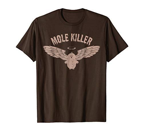 Mens Mole Killer T-Shirt for Gardener Large Brown