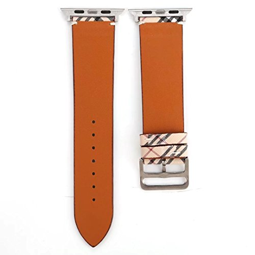 TCSHOW for Apple Watch Band 42mm,42mm Soft PU Leather Pastoral/Rural Style Replacement Strap Wrist Band with Silver Metal Adapter for Apple Watch Series 3/2/1(Not for Apple Watch 38mm) (Z8) by MeShow (Image #4)