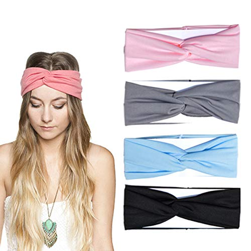 DRESHOW 4 Pack Headbands Vintage Elastic Printed Head Wrap Stretchy Moisture Hairband Twisted Cute Hair Accessories (4 Pack Criss - Headband Stretchy Headband