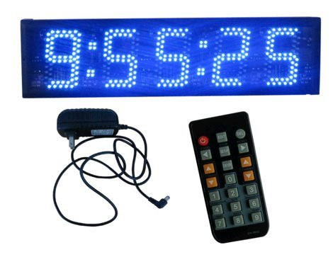 BESTLED Blue Color 5 LED Race Timing Clock Countdown/up LED Digital Clock for Outdoor/Semi-outdoor Count up to 9 hours 59 minutes 59 seconds IR Remote Control