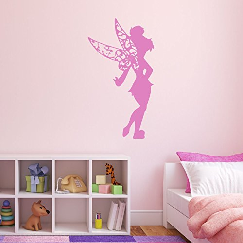 Tinkerbell Glittery Wings - Tinkerbell Vinyl Wall Decal - Disney Fairy, Peter Pan Themed Decor For Girls Room, Playroom, or Birthday Party - Pink, Purple, Other Colors