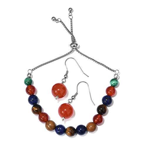 Carnelian, Multi Gemstone Copper, Stainless Steel Bolo Bracelet (Adj.) & Earring KS-47