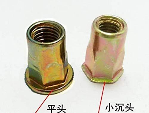 Nuts 10-100pcs/lot M4/M5/M6/M8/M10 Plated Color zinc Carbon Steel Flat Head Half hex Inner countersunk Head Rivet nut Insert nut697 - (Size: M10 Flat 100pcs, Color: Colorful zinc)