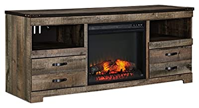 Ashley Furniture Signature Design - Trinell Entertainment TV Stand with Traditional Log Fireplace Unit Inlcuded - Dark Brown