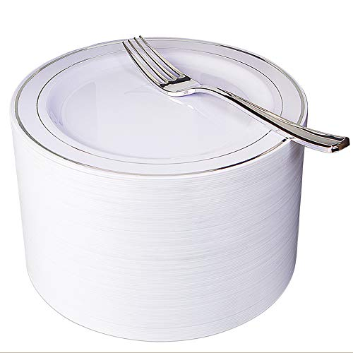 "NERVURE 102 Heavyweight Plastic Disposable 7.5"" Small Plates & 102 Silver Plastic Forks, Perfect for Salads, Desserts, Parties, Catering, Wedding Cakes -"