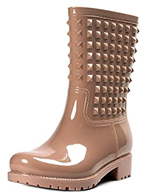 Amazon.com | Townforst Women's Rubber Studded Puddle Rain