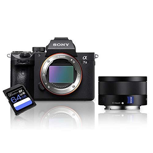 Kit Sony a7III Mirrorless + Lente Sony FE 35mm ZA (SEL35F28Z) + Cartão SDXC 64Gb