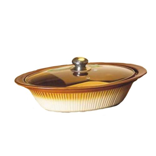 Essential Décor Entrada Collection GL89677 Ceramic Oval Casserole Dish with Cover, 16-Inch