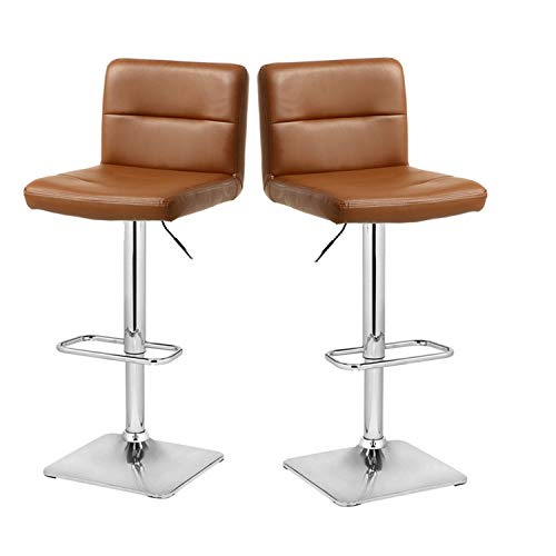 Modern Swivel Barstools with Chrome Base, Adjustable Counter Height Bar Stool, Brown PU Leather Padded with Back, Set of 2, Hold Up to 350lbs ()