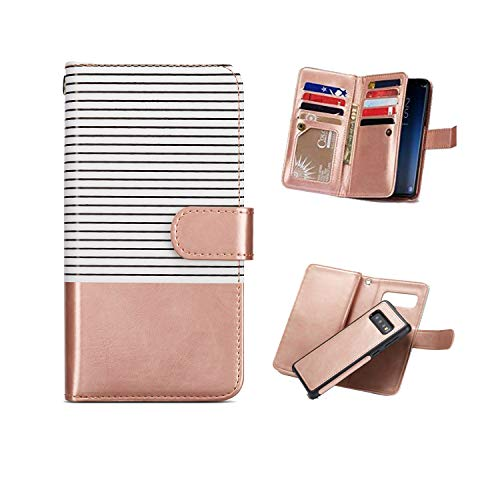 Samsung Galaxy S10 Plus Case,Galaxy S10+ Wallet Case,FLYEE Nine Card Slots High Capacity Stripe PU Leather Magnetic Protective Cover with Mirror and Wrist Strap for Galaxy S10+ 6.4''-Rose Gold ()