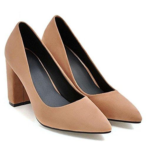 TAOFFEN Women's High Block Heel Pumps Shoes Brown-16 rAuMG8