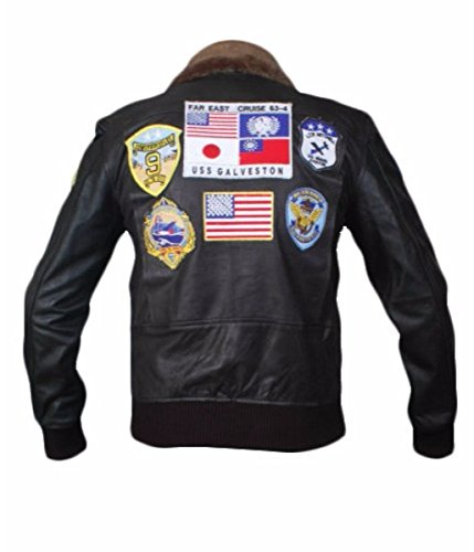 Leatherly Veste Homme Top Gun Authentique Veste en Cuir Noir