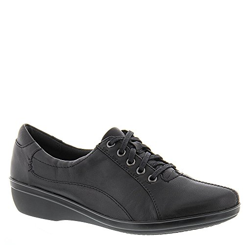 Clarks Women's Everlay Elma Lace Up Shoe,Black Leather,US 12 N by CLARKS