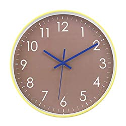 Epy Huts Wall Clock Battery Operated Indoor Non-Ticking Silent Quartz Quiet Sweep Movement Wall Clock for Office,Bathroom,Living Room Decorative 10 Inch Brown