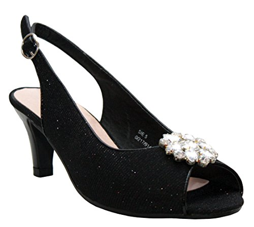 Ladies Womens Glitter Patent Kitten Heel Diamante Bow Front Party Evening Sandals Comfort Peep Toe Court Shoes - Sizes UK 3-8 Black/Glitter