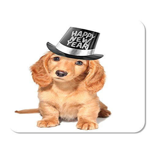 Suike Mousepad Computer Notepad Office Brown Dog Happy New Years Puppy Eve Resolution Pet Hat Golden Party Pup Home School Game Player Computer Worker 9.5x7.9 Inch