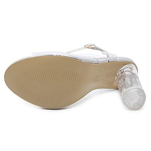 Claros Grueso De Bombas Grandes Tobillo De Talones Silver Abierto Toe Romanos De Tallas Correa Zapatos Sandalias Recortar Mujer Sandalias Tacón Club BEnYqHpW