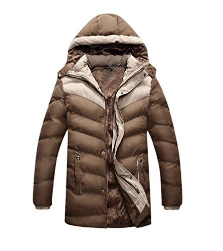 Outwear Hoodie Jacket Men's Warm Coat Windbreaker Parka Coffee Baymate Winter Bx0vFvw