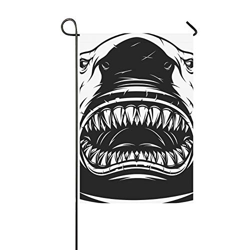 WIEDLKL Home Decorative Outdoor Double Sided White Ferocious Shark Toothy Garden Flag House Yard Flag Garden Yard Decorations Seasonal Welcome Outdoor Flag 12x18in Spring Summer Gift -