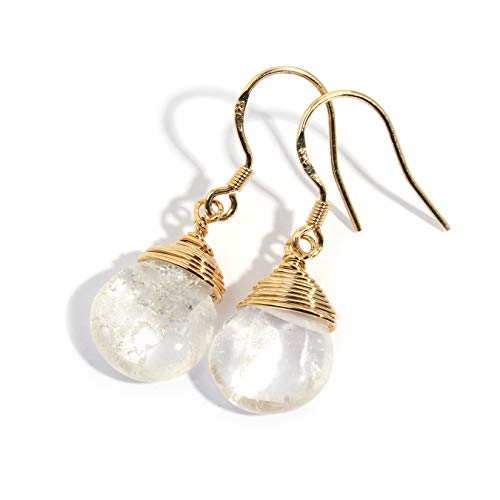 (Scutum Craft Natural Stone Wire Wrap Dangle Drop Earrings Gold Plated 925 Sterling Silver Hook Jewelry for Women (Rock Crystal Water Drop))