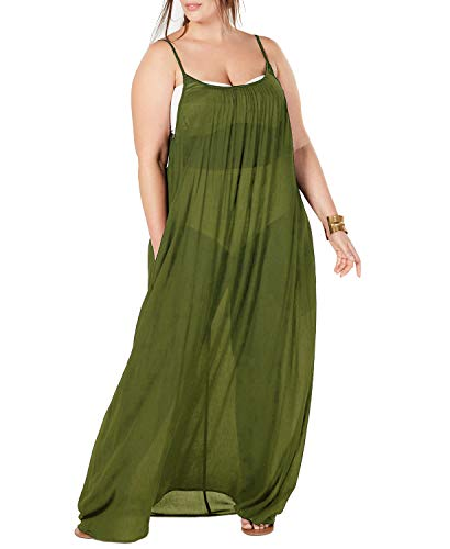 (Womens Plus Size Maxi Cover Ups Beach Dresses Spaghetti Strap Backless Coverups Swimwear with Pockets Green)