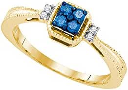 10kt Yellow Gold Womens Round Blue Colored Diamond Simple Cluster Ring 1/6 Cttw