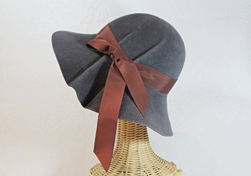 Women's Wide Brim Pleated Hedy Hat in Charcoal Velour Felt by Bonnet