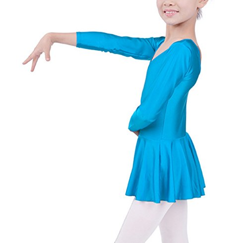 Ice Red Costumes Skating (Kids Girls Blue Sports Ballet Leotard Dance Dress Long Sleeve Gymnastics Fitness Costume Skirt)