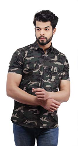 BASE 41 Men #39;s Cotton Camouflage Army Military Print Half Sleeves Double Pocket Shirt