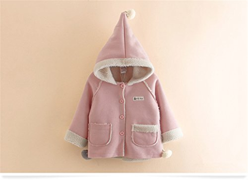 Baqijian Children Outerwear Coats Winter Kids Cute Hooded Fleece Thicken Jackets Girls Boys Costume Kids Pink 4T ()
