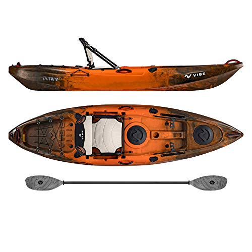 Vibe Kayaks Yellowfin 100 | 10 Foot | Angler Recreational Sit On Top Light Weight Fishing Kayak with Paddle + Adjustable Hero Comfort Seat (Wildfire - Grey Evolve Paddle) Vibe Kayaks