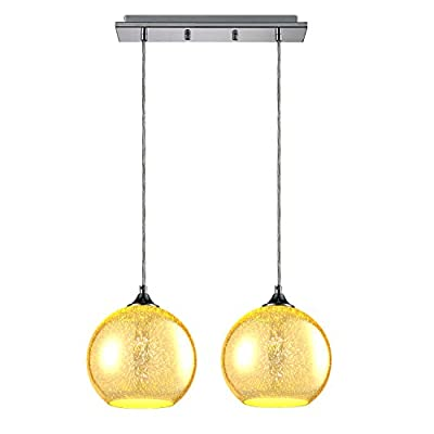 """SereneLife Home Lighting Fixture - Dual Pendant Hanging Lamp Ceiling Light with 2 7.87"""" Circular Sphere Shaped Dome Globes, Sculpted Glass Accent, Adjustable Length and Screw-in Bulb Socket (SLLMP22)"""