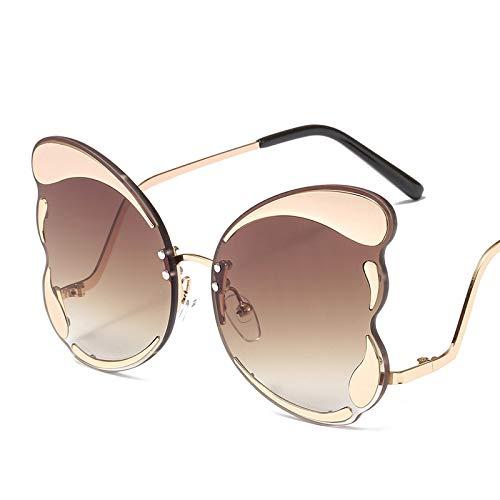 YJMN Butterfly Cat Eye Sunglasses Ladies Designer Brown Fashion Sun Glasses for Women Trendy Colors Eyewear Uv400