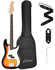 $139 » Donner DPB-510S Full-Size Full Size 4 Strings Electric Bass Guitar Sunburst Beginner Starter Kit with Bag, Guitar Strap, and Guitar Cable