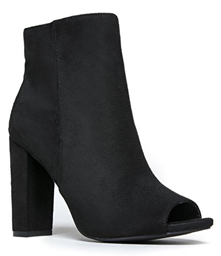 Faux Suede Peep Toe High Heel Ankle Boot Bootie