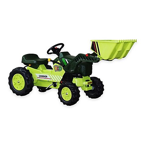 Pedal Tractor with Loader in Green with a 66-Lb Weight Limit - For Ages 3 to 7 Years Old