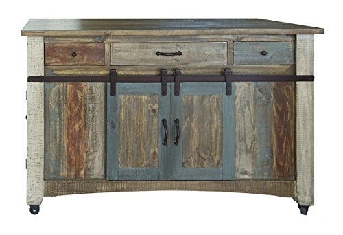 Burleson Home Furnishings Anton Multi Color Sliding Barn Door Kitchen Island