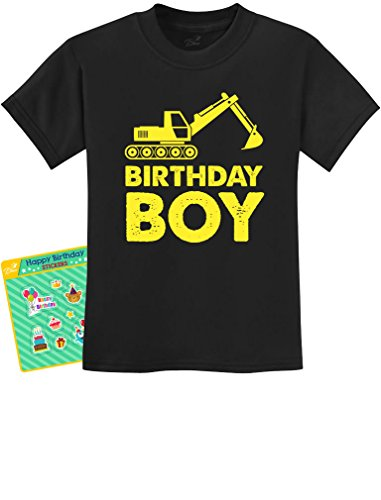 Birthday Boy Gift Idea - Yellow Tractor Bulldozer Construction Party Kids T-Shirt 3T Black -