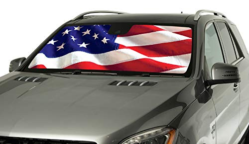 Intro-Tech CH-917-US Silver Custom Fit American Flag Windshield Sunshade for Select Chevrolet Camaro Models