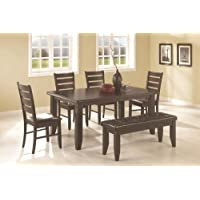 6pc Dining Table and Chairs Set in Cappuccino Finish