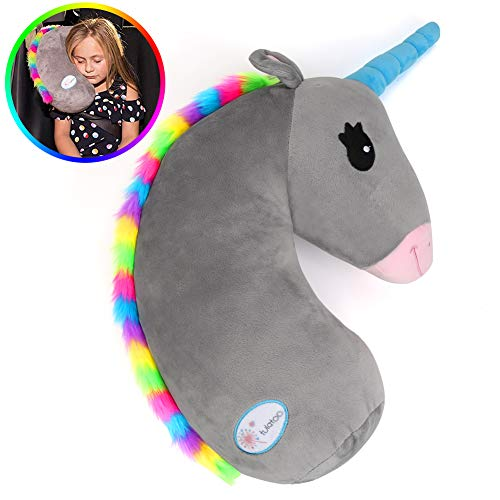 (Seat Belt Pillow for Kids,Unicorn Stuffed Animal Travel Pillow,Seatbelt Shoulder Cushion Pad,Safety Belt Protector Cover,Plush Soft Auto Seat Strap Headrest Neck Support Pillow for Children Baby )