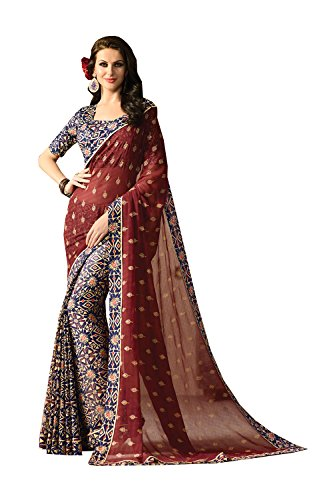 Indian Sarees For Women Designer Partywear Maroon Blue Color In Maroon Blue Maroon Blue by Asmafashion Store