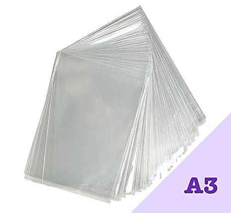 Pack de 100 bolsas de celofán transparente A3. Ajuste cómodo para ilustraciones y fotos A3. Sellado de 30 mm y 40 micrones