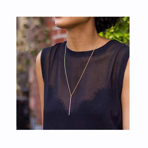 Luxcastle Bar Y Necklace Simple Long Vertical Bar Necklace Long Chian for Women and Girls (Gold)