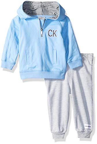 (Calvin Klein Baby Boys 2 Pieces Hooded Jog Pant Set, Blue/Gray, 3-6 Months)