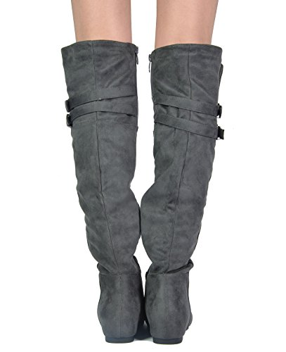 DREAM PAIRS Damenmode Casual Overknee Pull On Slouchy Boots Grau-Wildleder