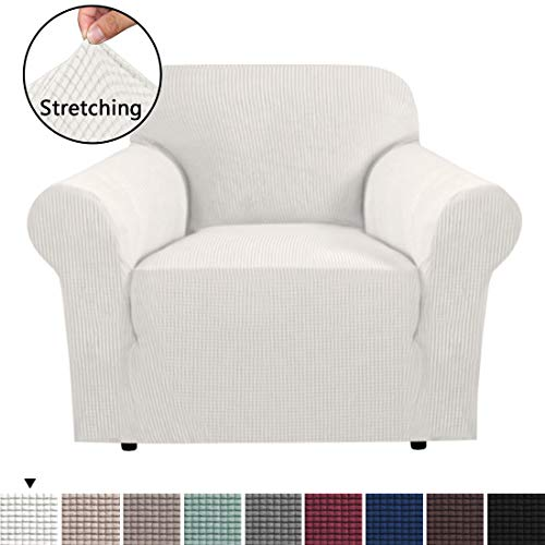 (Durable Soft High Stretch Sofa Slipcover 1 Piece Ivory White Couch Covers Lycra Furniture Protector Couch Cover Machine Washable Spandex Sofa Covers, Form Fitted 1 Seater Sofa Chair Cover)