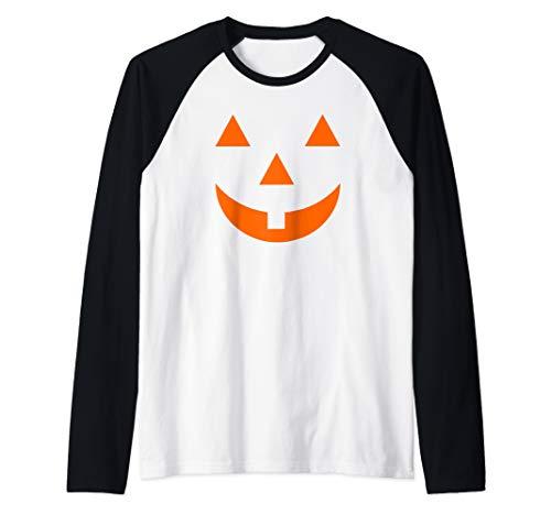 Smiley Face Pumpkin (Jack O Lantern Halloween Pumpkin Face Mask Smiley Raglan Baseball)